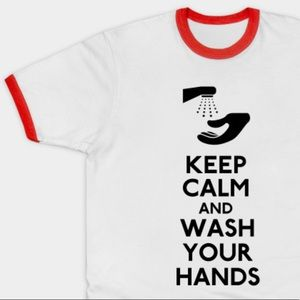 Tops - COVID 19 NOVELTY TEE Keep Calm and Wash Your Hands